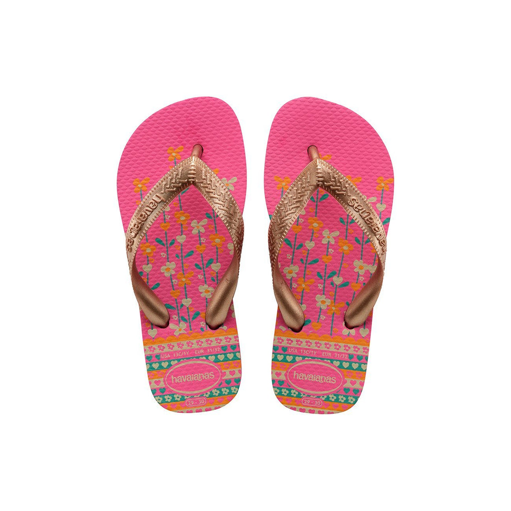 HAVAIANAS KIDS FLORES - SHOCKING PINK.ROSE GOLD