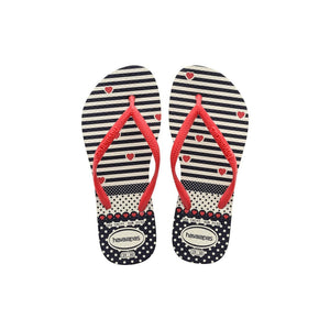 HAVAIANAS KIDS SLIM FASHION - WHITE.RED