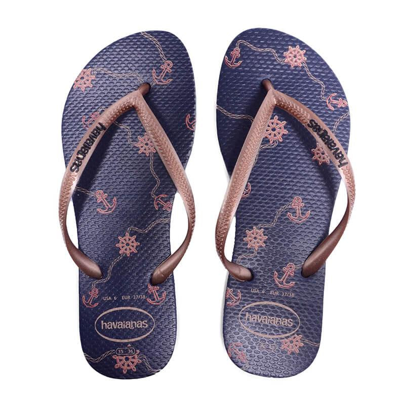 HAVAIANAS SLIM NAUTICAL - NAVY BLUE/ROSE GOLD