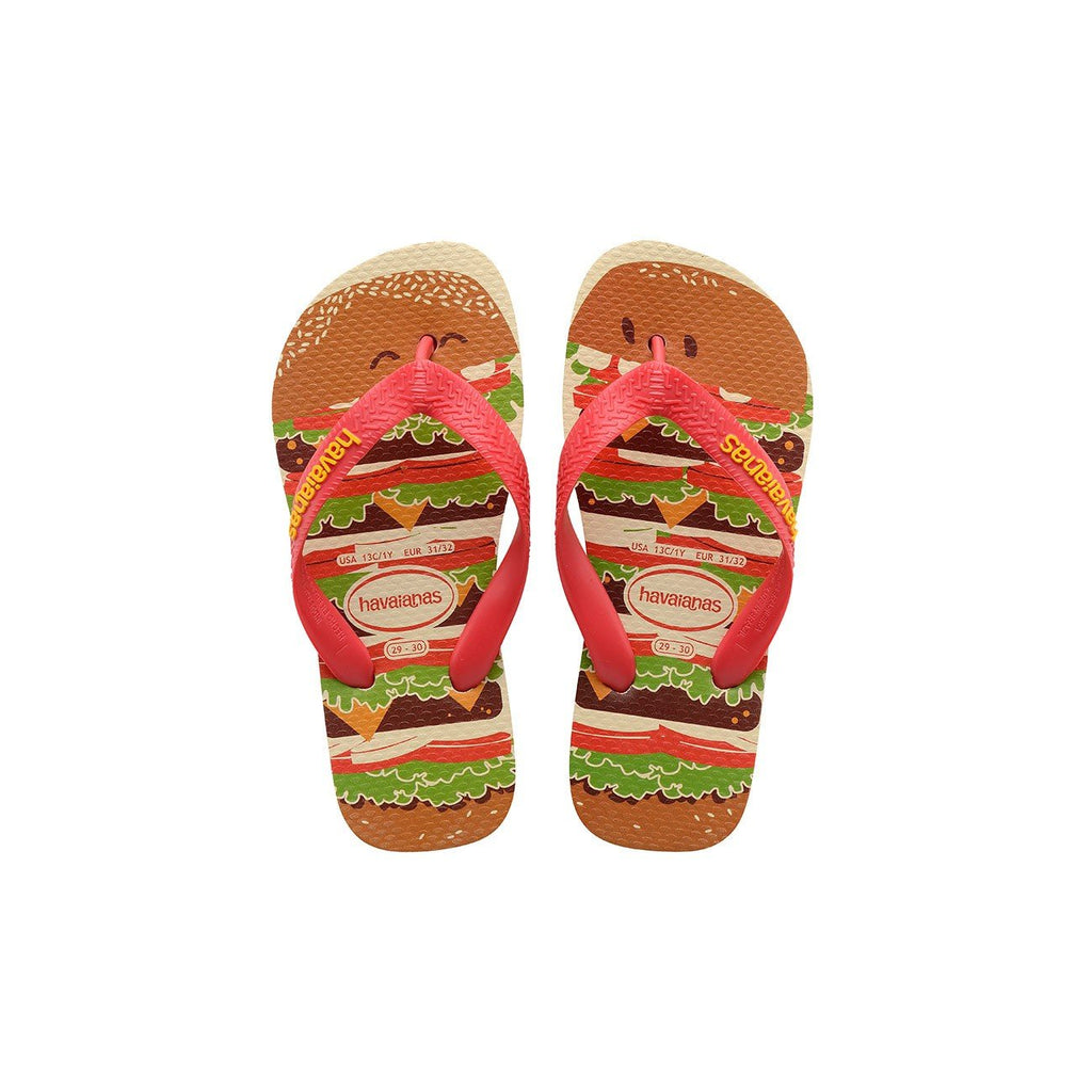 HAVAIANAS KIDS TOP FAST FOOD - BEIGE.RUBY RED