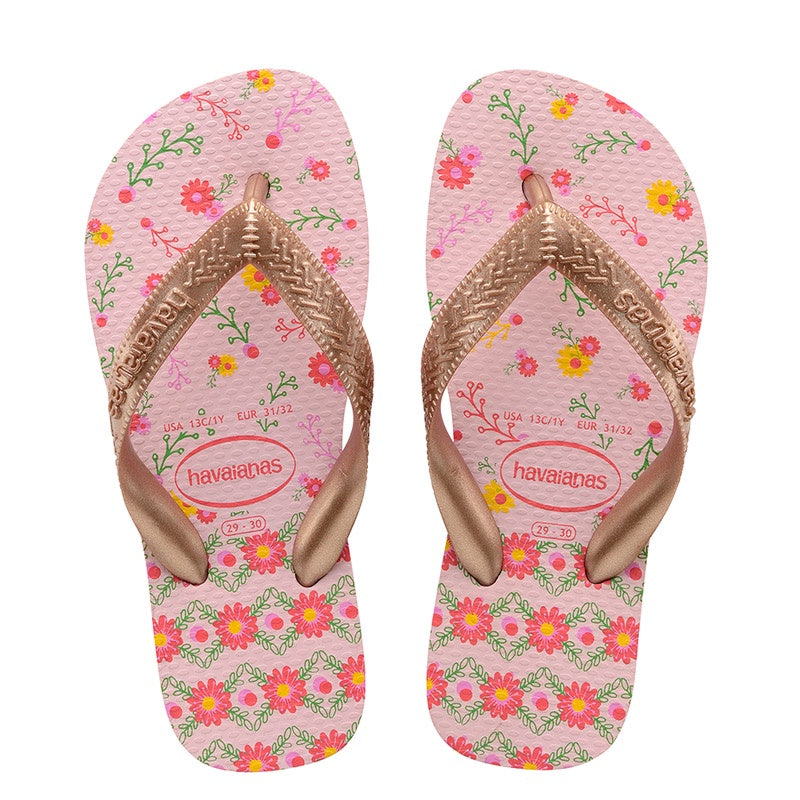 HAVAIANAS KIDS FLORES - CRYSTAL ROSE/ROSE GOLD METALLIC
