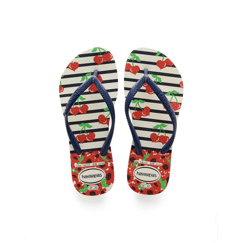 HAVAIANAS KIDS SLIM FASHION - WHITE.NAVY BLUE