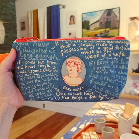 Jane Austen Canvas Zipper Pouch