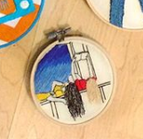 Girls Reading Embroidery Hoop
