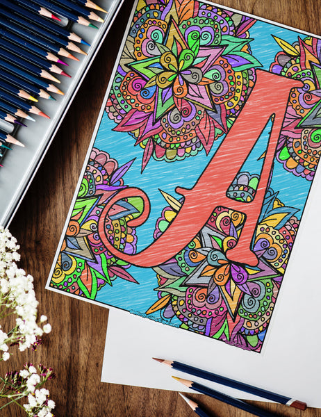 Curly Monogram Coloring Pages