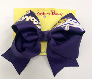 Hand Painted Broncos Large Bow