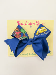Medium Blue Back to School Bow