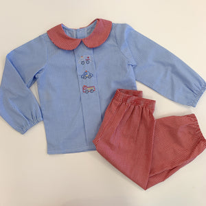 Red Rescue Cars Pant Set