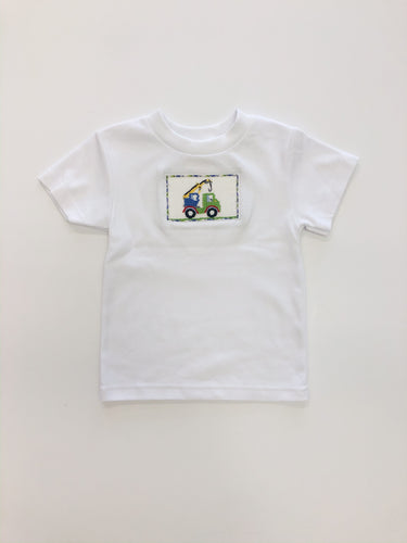 Crane Smocked Tee- White Knit