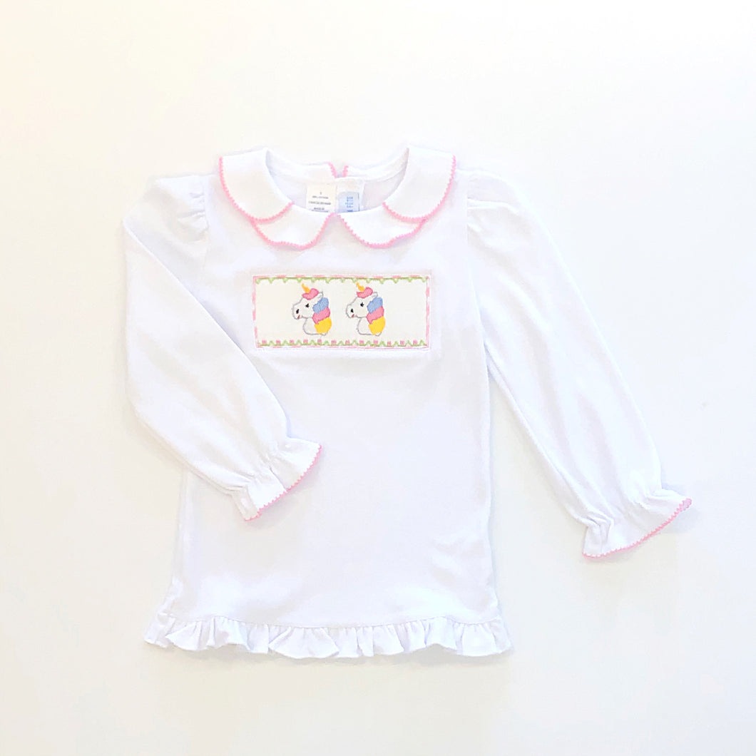 Unicorn Smocked LS Petal Collar Tee