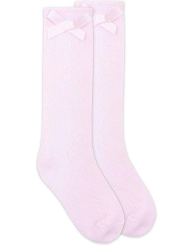 Bow Pointelle Knee High Sock Pink