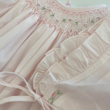 Load image into Gallery viewer, Pink Daygown & Bonnet w/ Sheer Trim