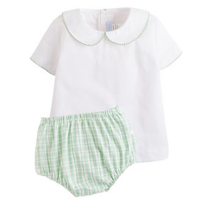 Green Plaid Diaper Set