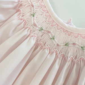 Pink Daygown & Bonnet w/ Sheer Trim