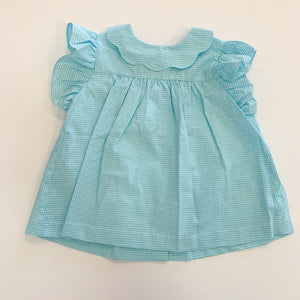Toulouse Blouse- Aqua Mini Check