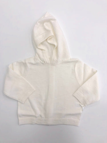 White Back Zip Hooded Cardigan Sweater