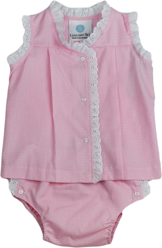 Jill Diaper Set Pink Mini Gingham