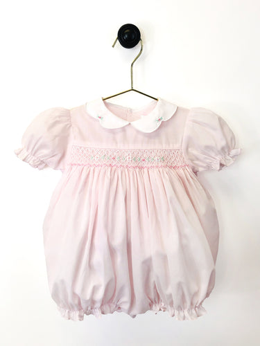 Pink Smocked Bubble Scallop Collar/Bonnet