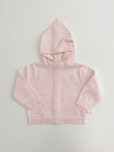 Pink Back Zip Hooded Cardigan Sweater