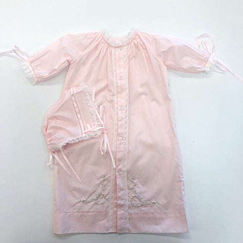 Pink Daygown and Bonnet Set