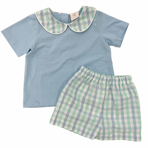 Sibley Short Set Blue/green Plaid