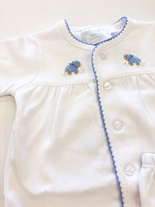 Pinpoint Layette Knit Set- Blue Sheep