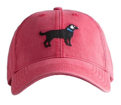 Black Lab on Weathered Red Baseball Hat