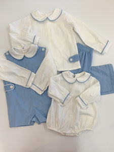 Blue Cord Shortall w/trimmed Shirt