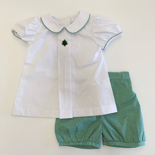Girl Christmas Pine Banded Short Set