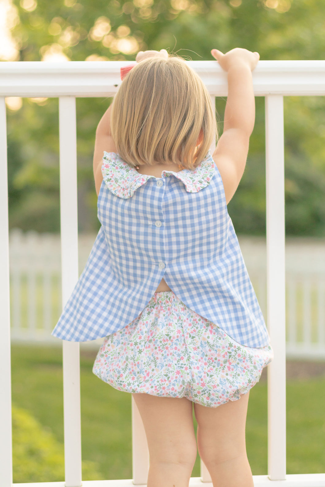 Maisy Bloomer Set Blue Gingham/Floral