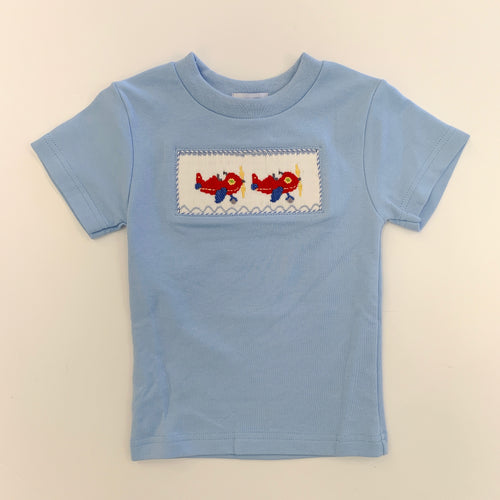 Airplane Smocked Light Blue Tee