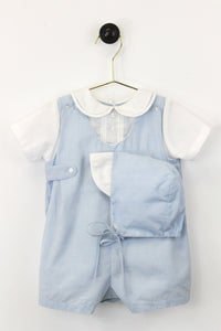 Blue Micro Check Romper w/ Bonnet