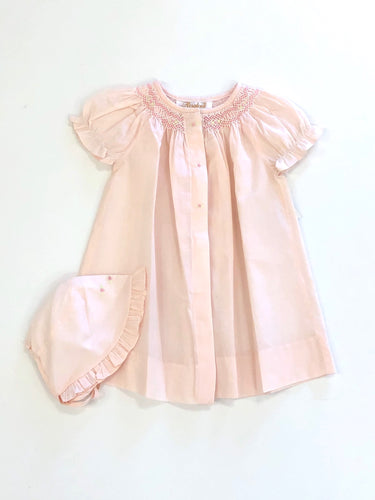 Smocked Day Gown W/Bonnet- Pink/Peach