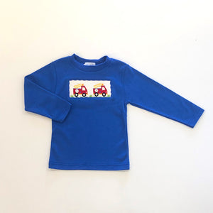 Firetruck Smocked Blue LS Tee