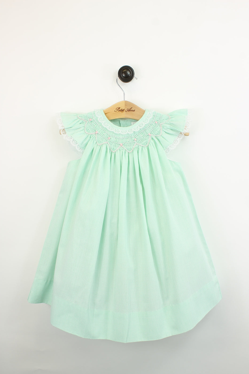 Smocked Mint Gingham Dress w/Lace