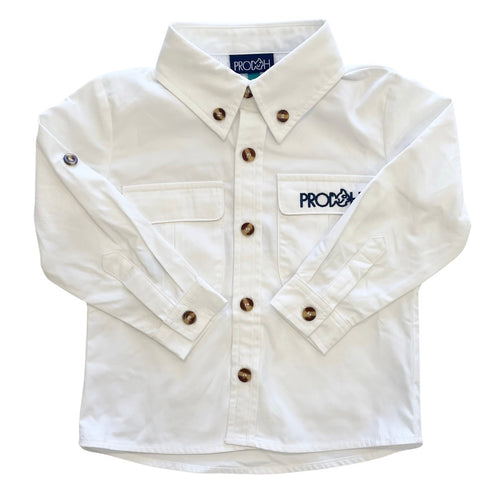 Vented Back Fishing Shirt- White