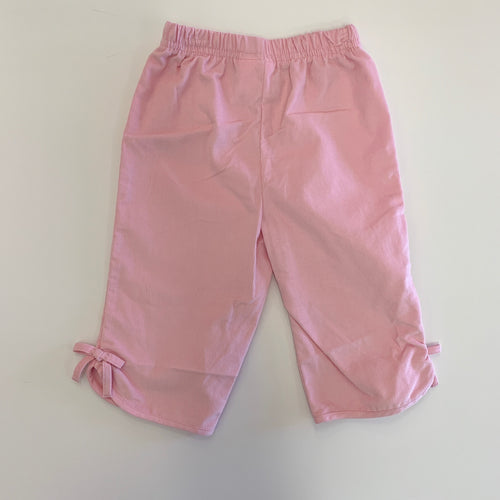 Girl Pink Cord Bow Pants