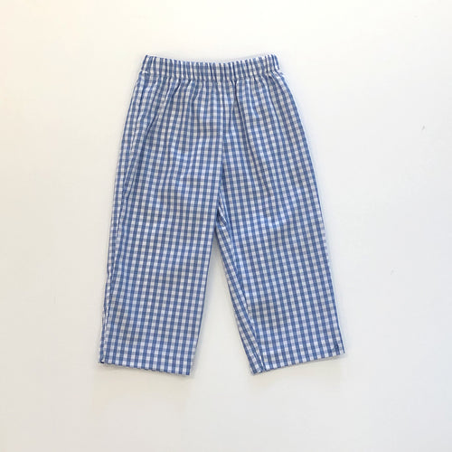 Blue Check Boys Pull on Pant