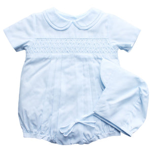 Blue Smocked Bubble Pinpoint/Bonnet
