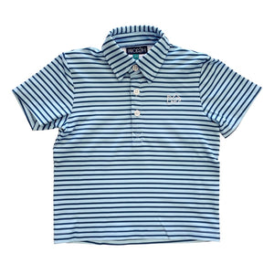 Striped Performance Polo Blueberry Pie