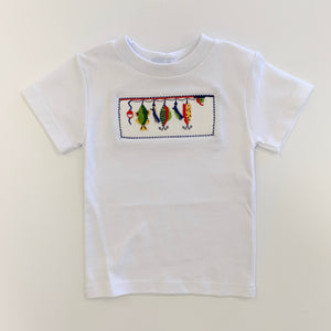 Fish Lure Smocked White Tee