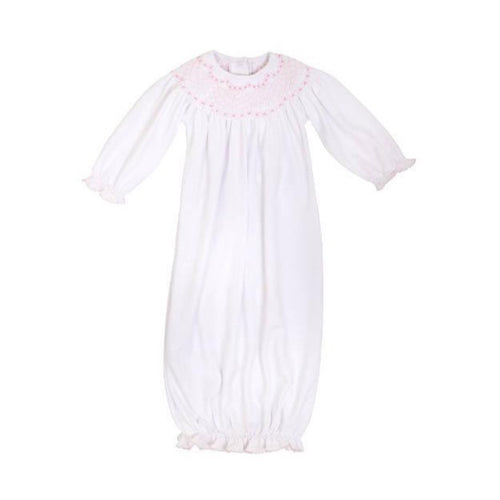 Sweetly Smocked Greeting Gown Worth Avenue White w/ Palm Beach Pink