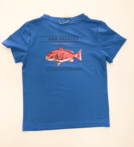 Red Snapper Performance Tee- Blue