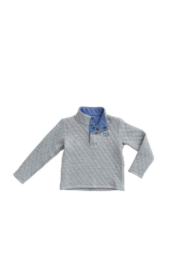 Quilted Quarter Snap Pullover in Gray