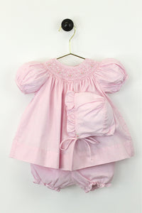Pink Gingham Smock Floral Dress w/ Bonnet