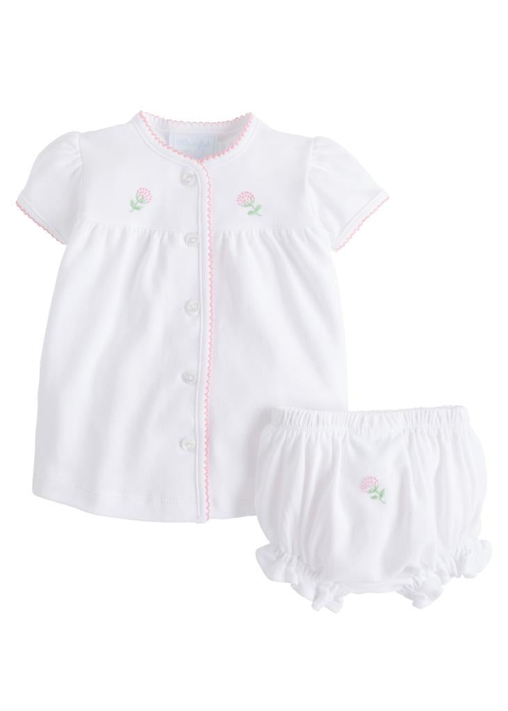 Pinpoint Layette Knit Set- Flowers