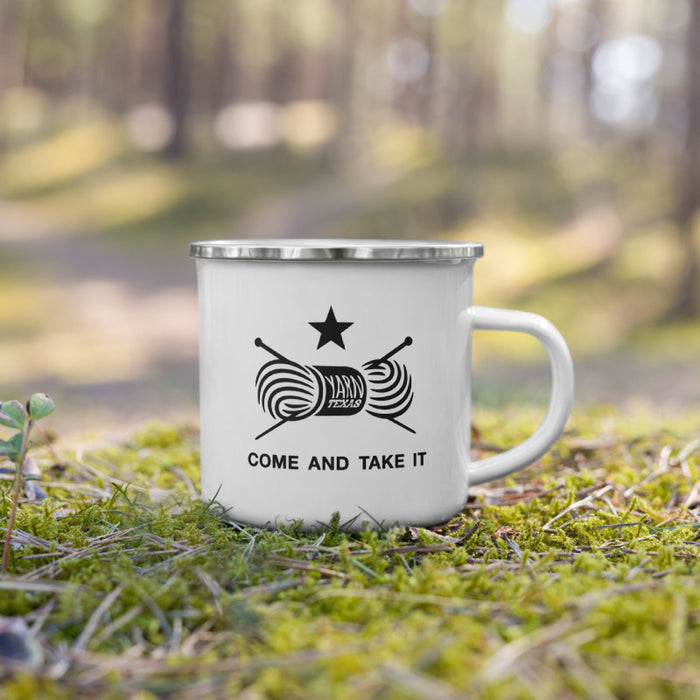 Come and Take It Knitting Enamel Mug