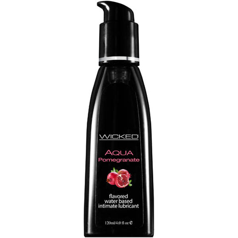 Wicked Aqua Pomegranate - Pomegranate Flavou Water Based Lubricant - 120 ml (4 oz) Bottle