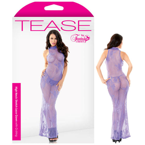 Tease High Neck Stretch Lace Gown With G-string - Periwinkle  - M/L Size