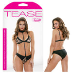 Tease Kat Bralette with Matching Panty & Removeable Choker Leash - Leopard - M/L Size